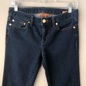 Tory Burch Jeans - Tory Burch Straight Leg Dark Wash Gold Logo Jeans